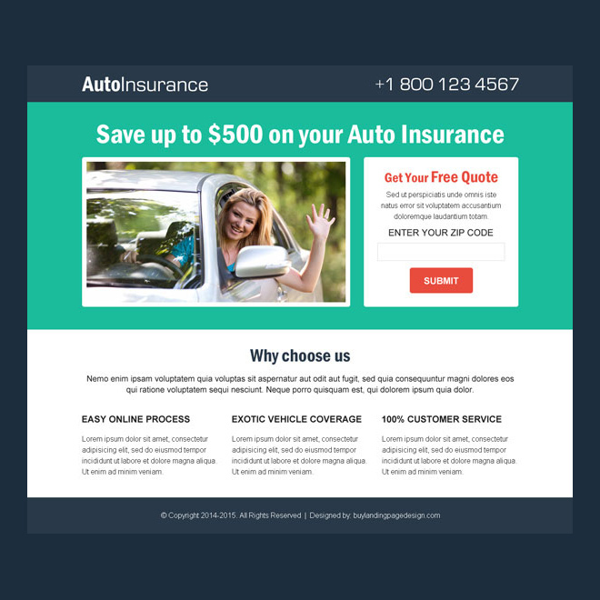 auto insurance free quote clean and simple lead gen responsive landing page design Auto Insurance example