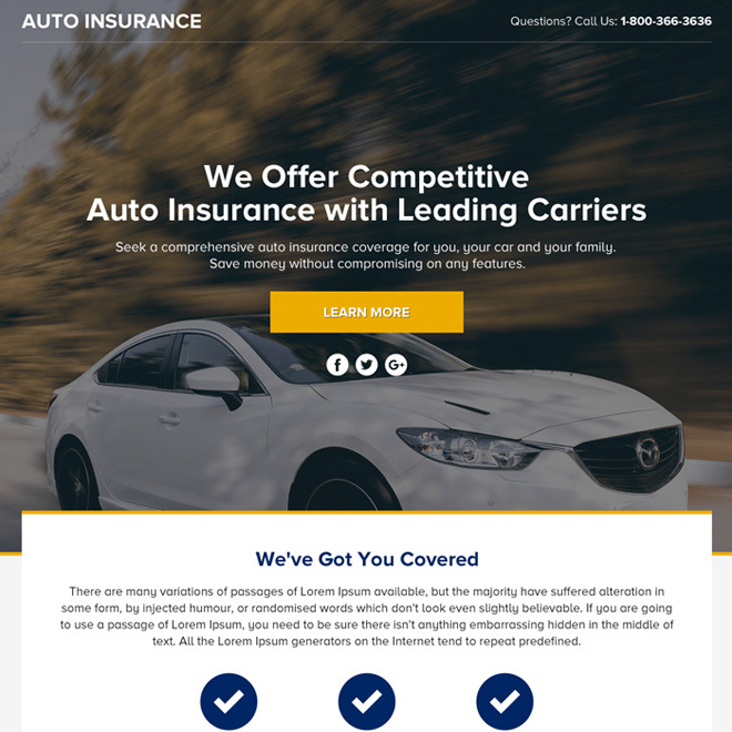 auto insurance lead funnel landing page design Auto Insurance example