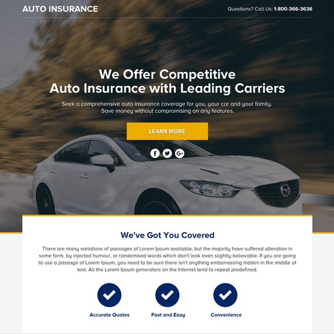 auto insurance lead funnel responsive landing page design Auto Insurance example
