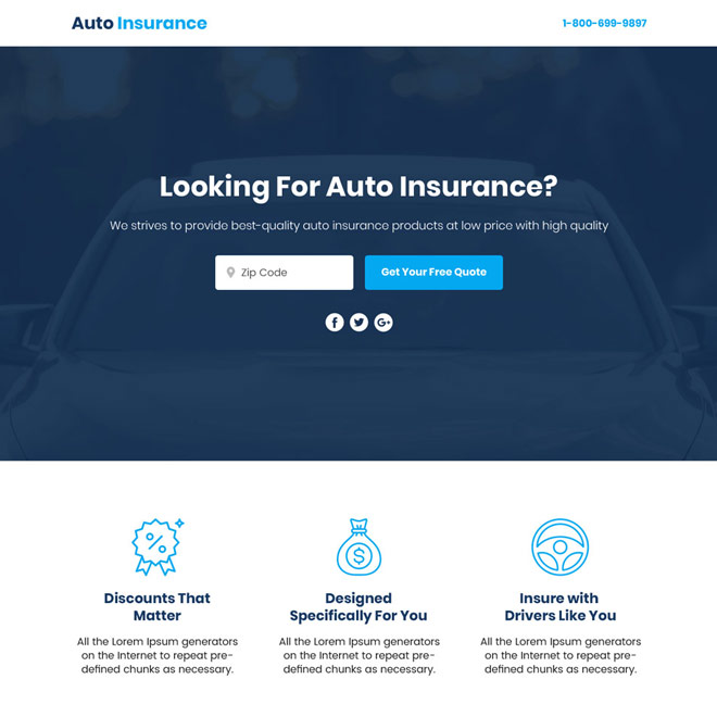 auto insurance sales funnel responsive landing page Auto Insurance example