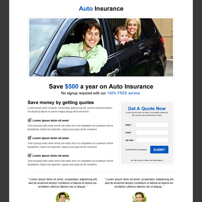 auto insurance minimalist landing page to capture leads Auto Insurance example