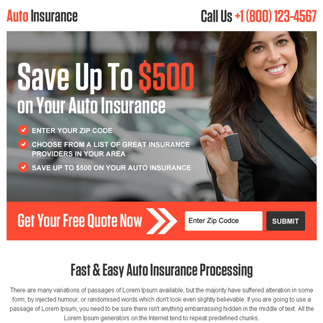 auto insurance processing leads ppv landing page design Auto Insurance example
