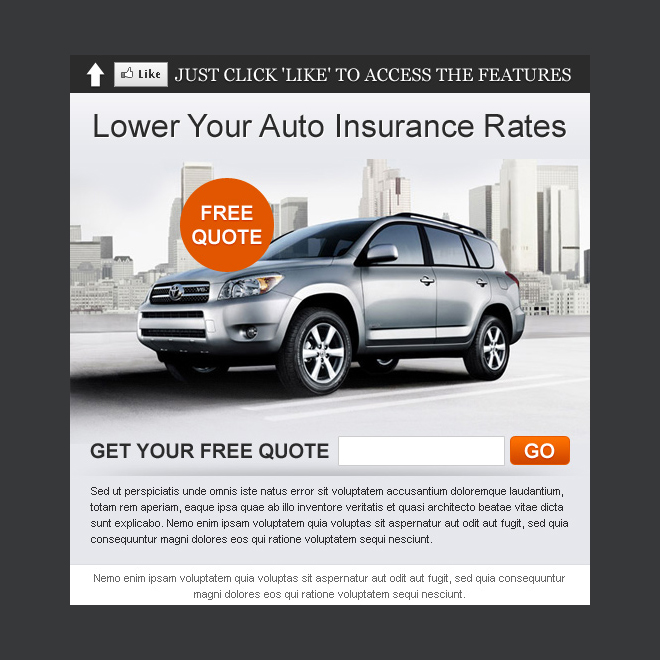 lower your auto insurance rates html fan page template PPV Landing Page example