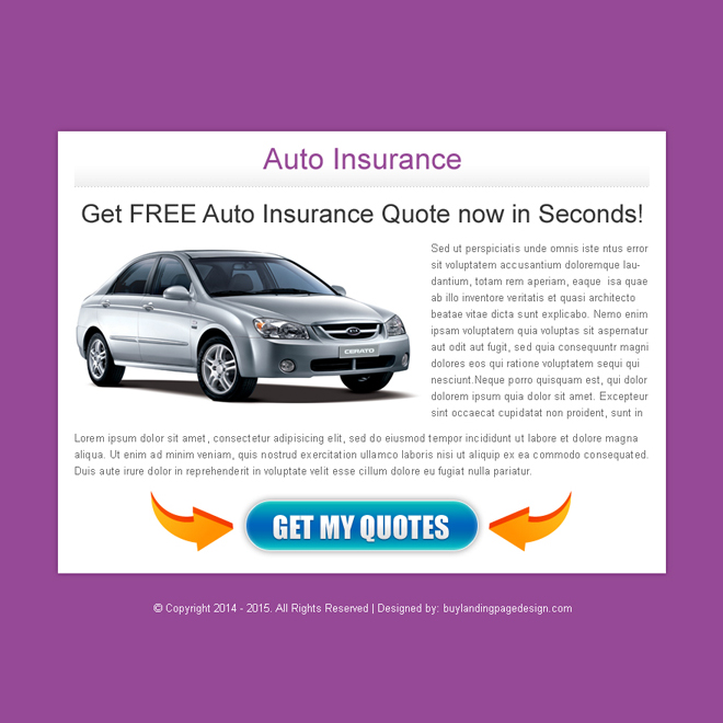 auto insurance quote in second call to action ppv landing page design Auto Insurance example
