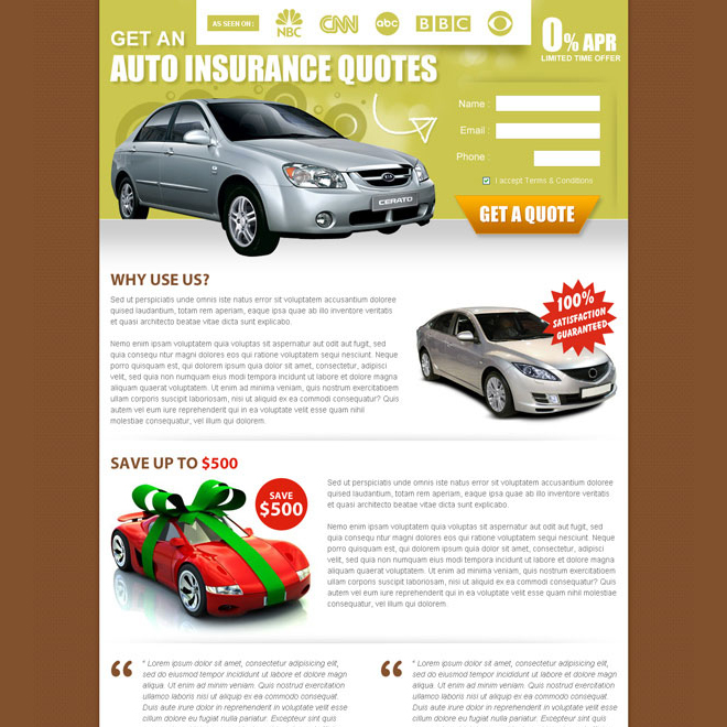 auto insurance quote small lead capture effective and clean landing page design Auto Insurance example