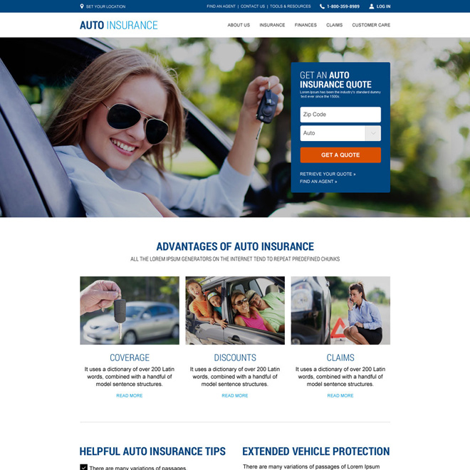 responsive auto insurance website design template Auto Insurance example