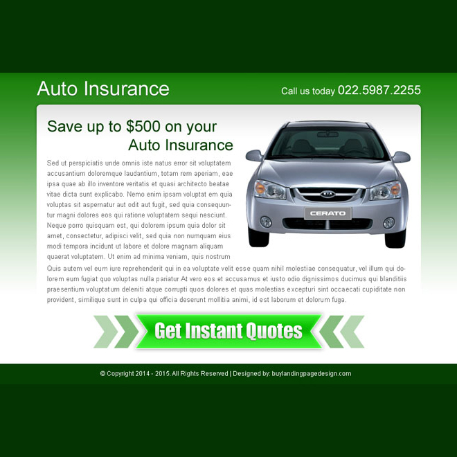 auto insurance instant quote call to action ppv landing page Auto Insurance example