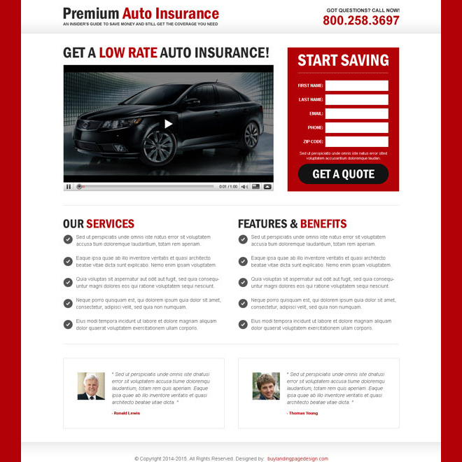 auto insurance lead capture video landing page Auto Insurance example