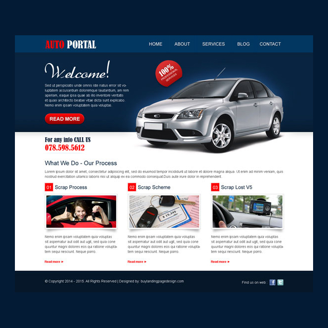 creative call to action website template design psd for auto portal website Website Template PSD example