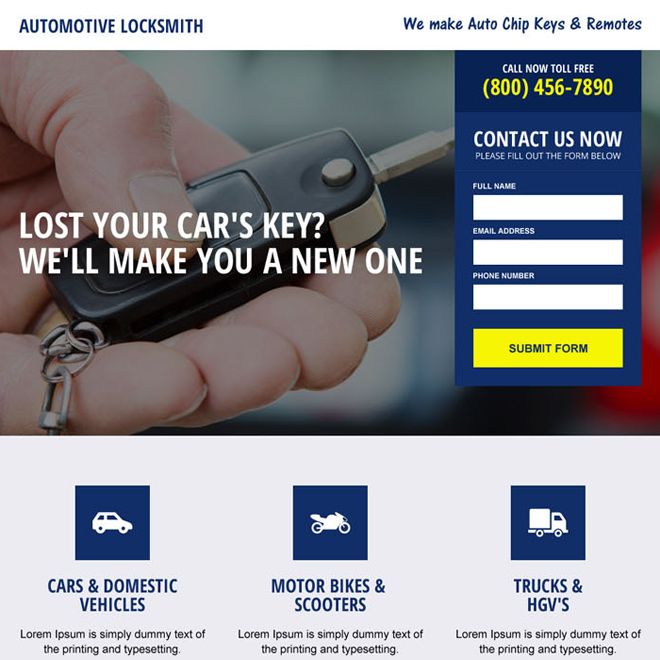 automotive locksmith service responsive landing page design Locksmith example