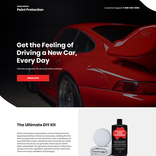 automotive paint protection product selling landing page Automotive example