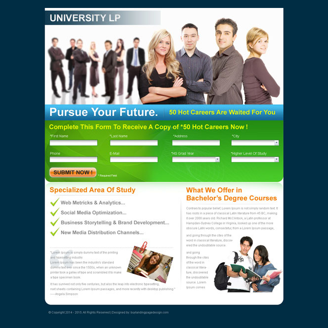 bachelors degree education landing page design for sale Landing Page Design example