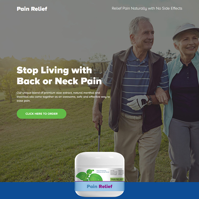 pain relief product responsive landing page design Pain Relief example