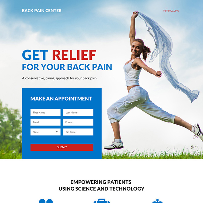back pain relief center responsive landing page design Pain Relief example