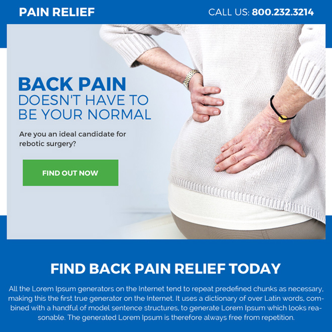 pain relief treatment pay per click ppv landing page Pain Relief example