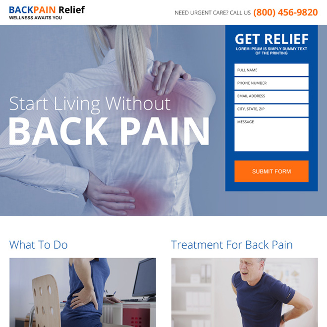 back pain relief treatment landing page design Pain Relief example