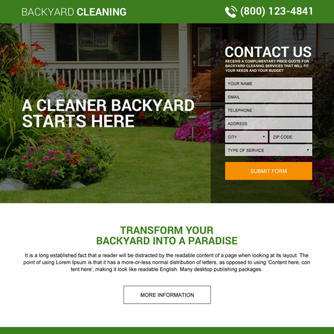backyard cleaning service lead gen landing page design Cleaning Services example