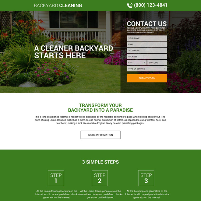 responsive backyard cleaning service lead capturing landing page Cleaning Services example