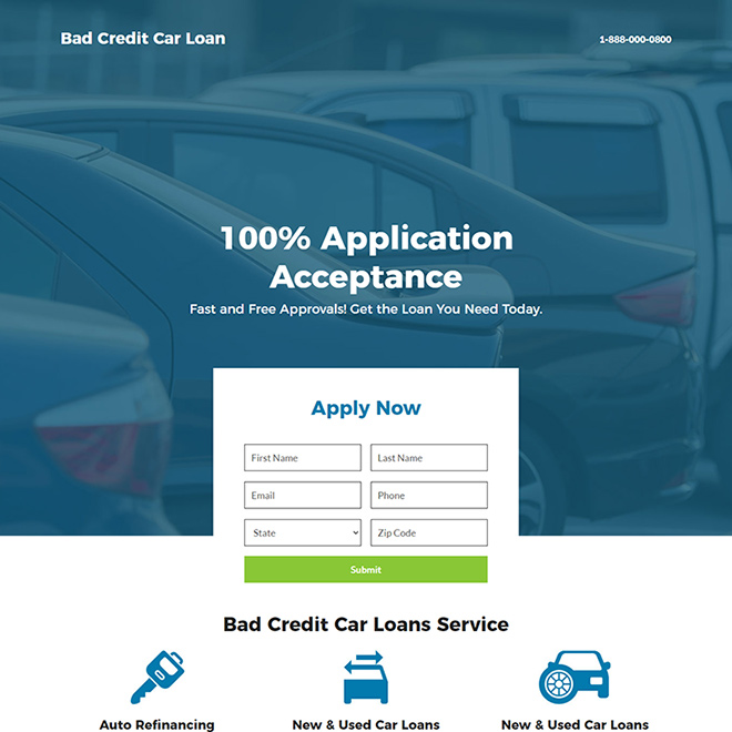 bad credit car loan service responsive landing page Auto Financing example