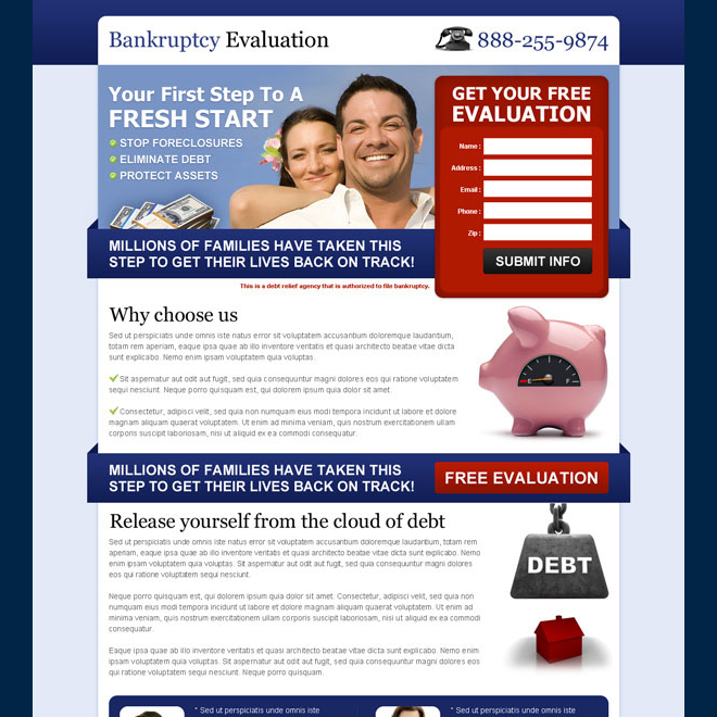 bankruptcy free evaluation effective and appealing debt lead gen landing page Debt example