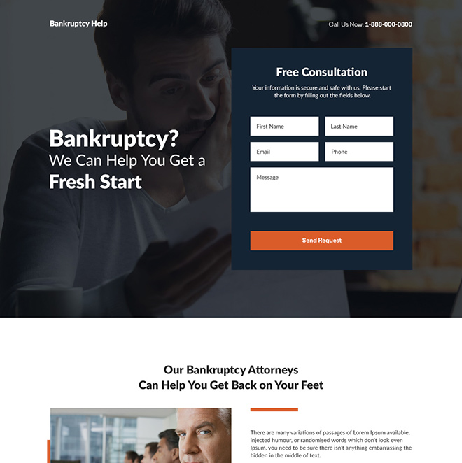 bankruptcy financing counselling responsive landing page Debt example