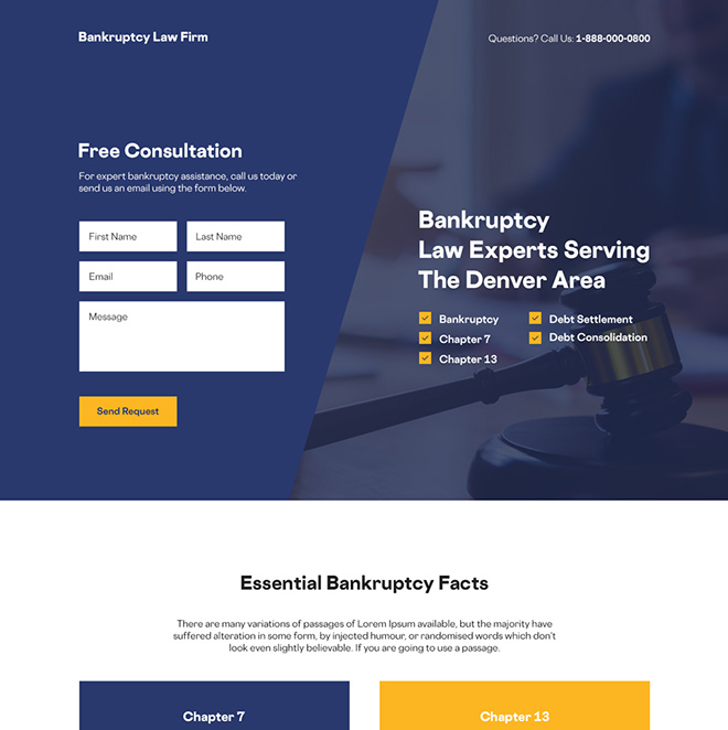 bankruptcy law firm free consultation responsive landing page Attorney and Law example