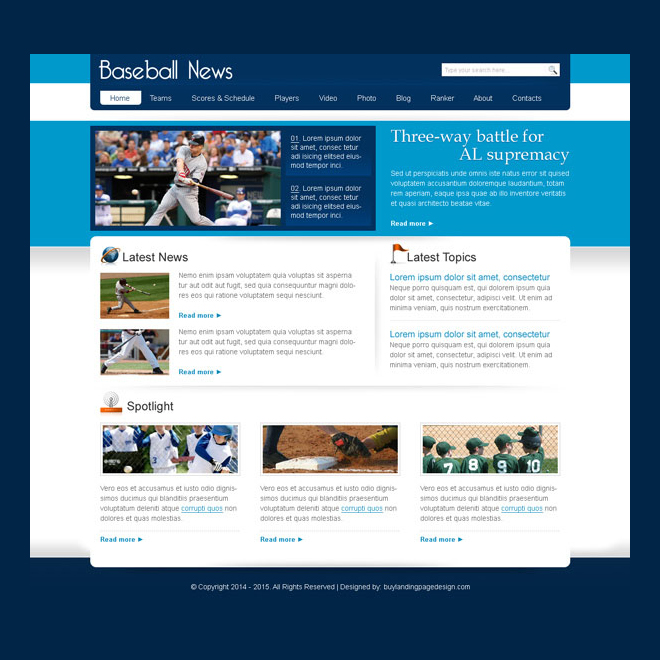baseball news clean and informative website template design psd Website Template PSD example