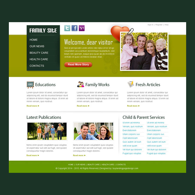 beautiful family website template design psd to create informative website Website Template PSD example