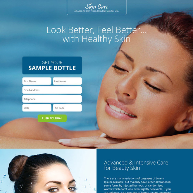 beautiful and appealing skin care responsive landing page design Skin Care example