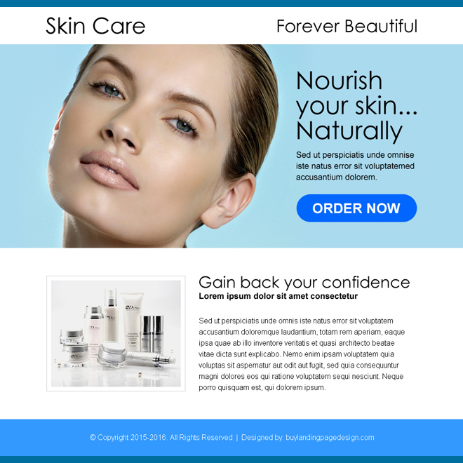 beautiful skin care product selling ppv landing page design Skin Care example