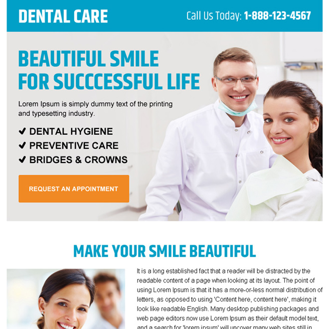 beautiful smile dental care call to action ppv landing page design Dental Care example