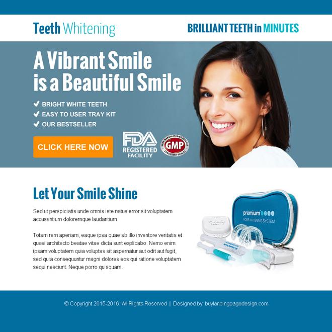 beautiful smiling teeth whitening kit ppv landing page design Teeth Whitening example
