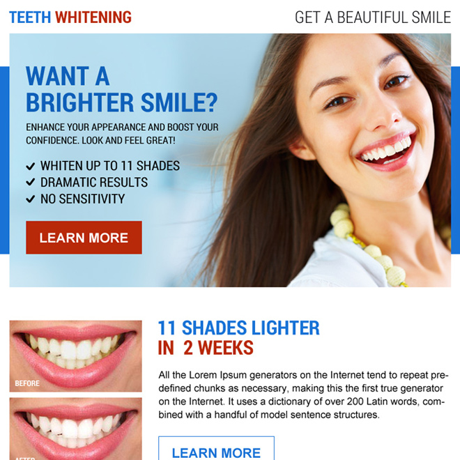 clean teeth whitening ppv landing page design Teeth Whitening example