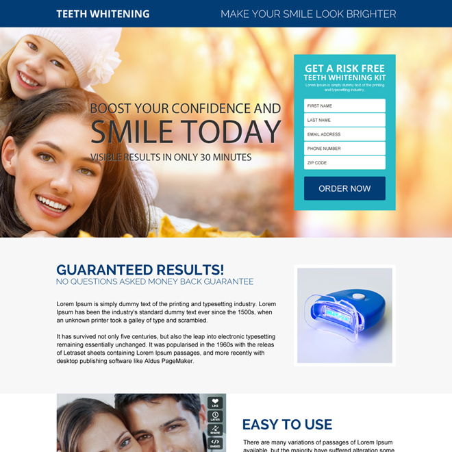 beautiful teeth whitening product responsive landing page design Teeth Whitening example