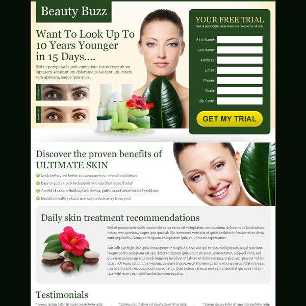 look upto 10 years younger in 15 days very attractive and converting landing page design Beauty Product example