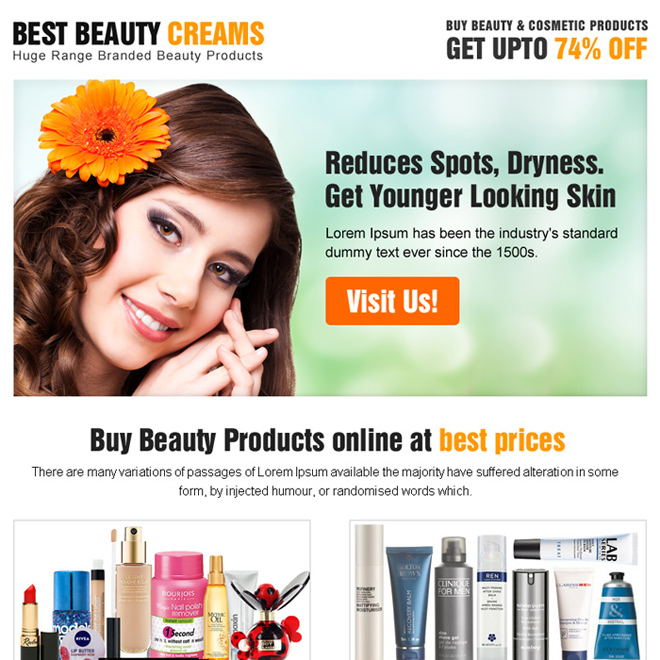 beauty product selling ppv landing page Beauty Product example