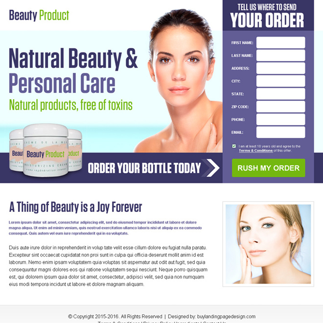 beauty product selling bank page lander design Bank Page example