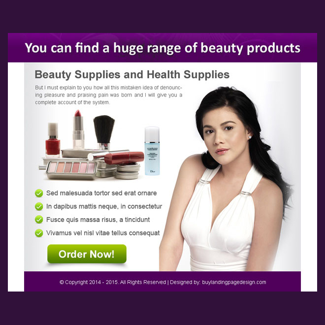 huge range of beauty products order now ppv landing page design PPV Landing Page example