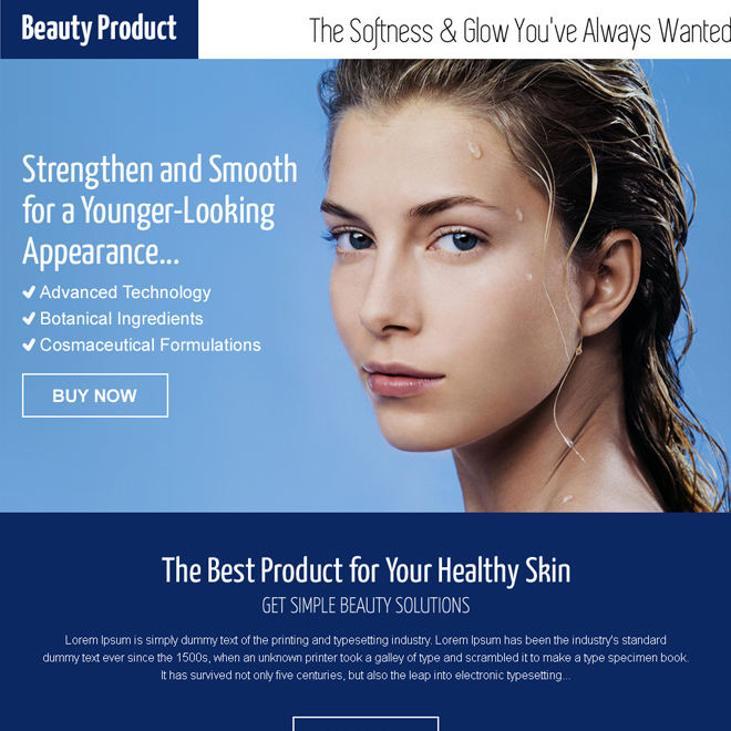 beauty product pay per click landing page design template Pay Per Click example