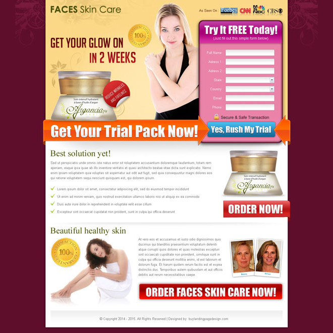 beauty product for your skin care product free trial squeeze page design Beauty Product example
