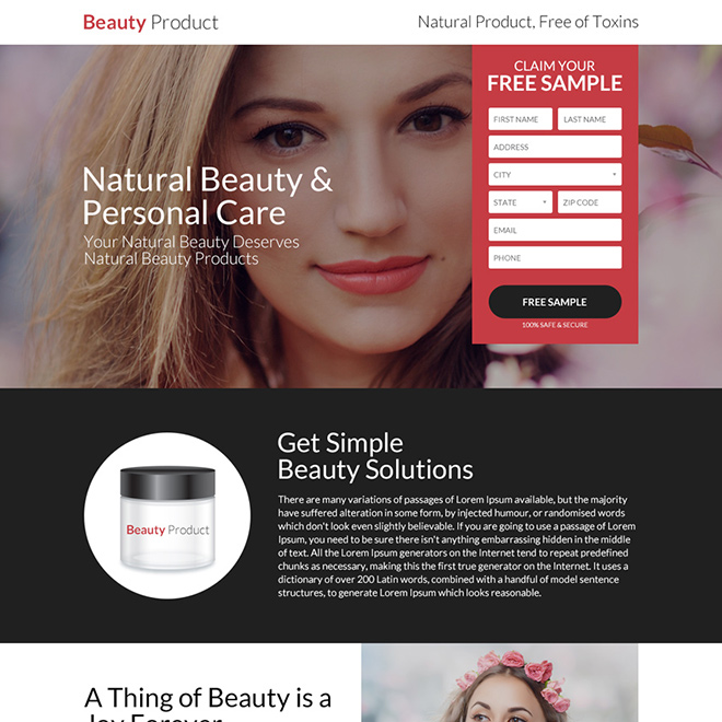 natural beauty and personal care landing page design Beauty Product example