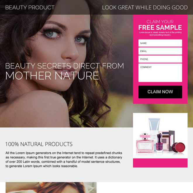 beauty product free sample claiming landing page design Beauty Product example