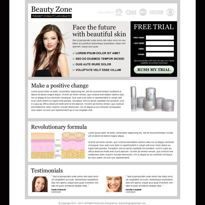 face the future with beautiful skin clean and attractive lead capture landing page Beauty Product example