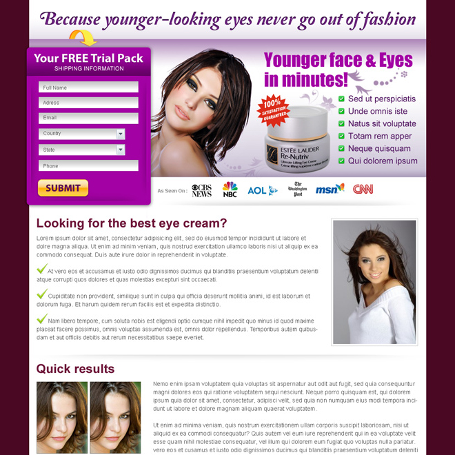 beauty product lead capture landing page design template Beauty Product example