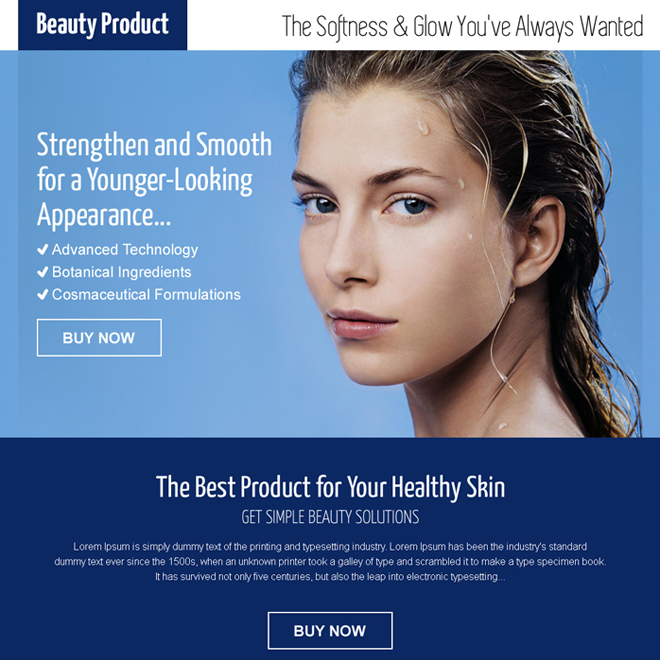 beauty product pay per click responsive landing page Beauty Product example