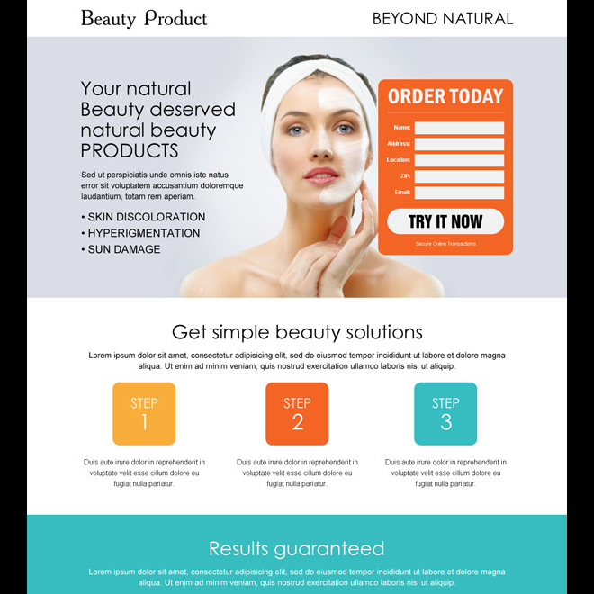 beauty product lead capture responsive landing page design Beauty Product example
