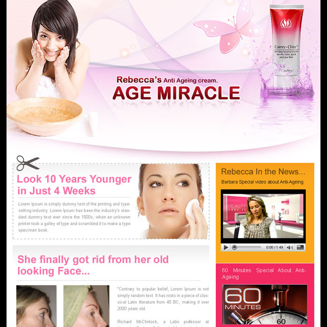 beauty product review attractive landing page design for sale Beauty Product example