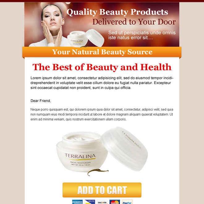 beauty product call to action sale page design to capture leads Beauty Product example