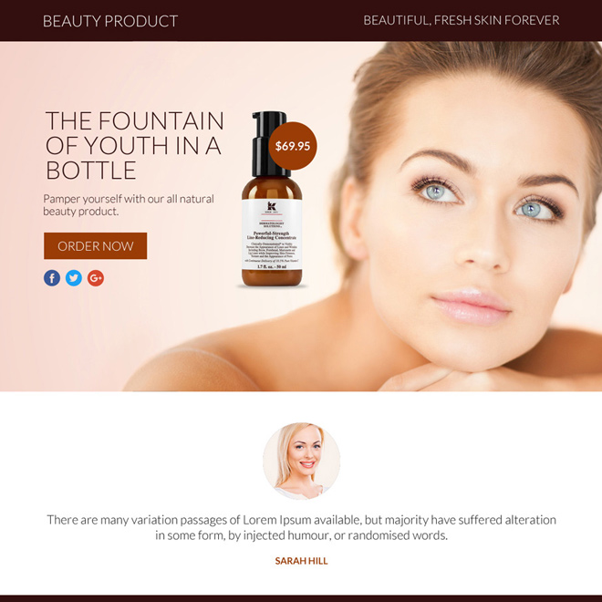 beauty product selling responsive funnel page design Beauty Product example