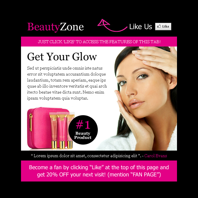 beauty product selling html facebook fan page design template PPV Landing Page example